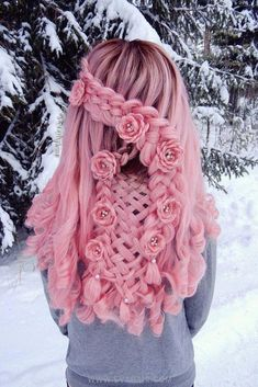 Braided flowers on pink wig for wedding braidedhairstyles wedding wigs pinkhair hairstyle braided braidedhairstyles flowers hairstyle pinkhair wedding hairstylediyshort dyedhair prettybraidedhairstyles hairstyles for school step by step Hair Dye Colors, Cool Hair Color, Box Braids Hairstyles, Cool Hairstyles, Wedding Hairstyles, Twisted Hair, Flower Braids, Pink Wig, Dream Hair