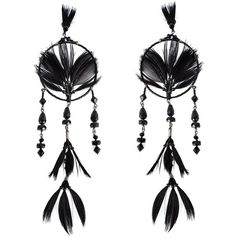 Valentino Garavani Dream Catcher Earrings ($875) ❤ liked on Polyvore featuring jewelry, earrings, black, valentino jewelry, kohl jewelry, black earrings, feather jewelry and black jewelry