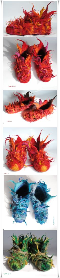 <3 Wild bezipfelte WaldElfenSchluppys und FeuerTanzSchuhe..., gehäkelt und bei 60° in der Waschmaschine g.filzt. ;-) Design: Gerti G. ♥