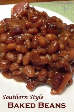 Southern Style Baked Beans - Sticky Sweet Southern Goodness on a Plate! by Florassippi Girl Southern Style Baked Beans - Sticky Sweet Southern Goodness on a Plate! by Florassippi Girl Baked Bean Recipes, Vegetable Recipes, Crockpot Baked Beans, Beans Recipes, Baked Beans Recipe Easy Quick, Sweet Beans Recipe, Best Baked Beans, Homemade Baked Beans, Chilli Recipes