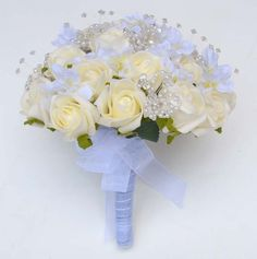 Silk  , crystal Wedding Flowers Bridal Bouquets | Brides Crystal & Bead Ivory Rose Wedding Bouquet - Bridal Bouquets ...