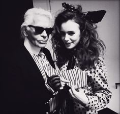 Lily Collins & Karl Lagerfeld