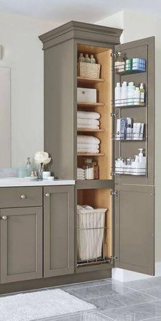 Best Ideas For Farmhouse Bathroom Storage Ideas Linen Cabinet Small Bathroom Storage, Wall Storage, Bedroom Storage, Storage Cabinets, Diy Storage, Storage Ideas, Bathroom Closet, Master Bathroom, Towel Storage