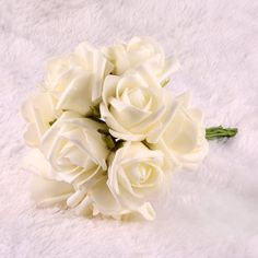 Beauty Bridal Bouquet Rose Flower Wedding Bouquets Latex Real Touch Flowers DIY Charm Bling Rose Bouquets Party Wedding Bridesmaid Decoration 10pcs Pack (Cream Ivory) >>> Read more  at the image link.