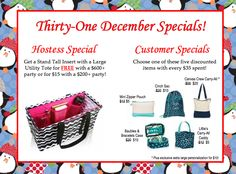 Thirty-One December 2014 Specials just announced!! Visit www.mythirtyone.com/213746 for more information!