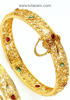Check out the deal on 22K Gold Kada with Uncut Diamonds Rubies & Emeralds - 1Pair at Totaram Jewelers: Buy Indian Gold jewelry & 18K Diamond jewelry