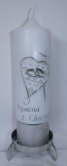 Hochzeitskerze in weiß und silber mit Spitze von mac-kunst.