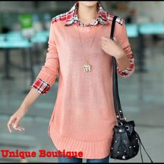 HP•Last Item• Pink colored sweater . And it comes just as pictured with the collard shirt underneath. Sweaters