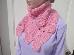 Hand Knit Piggy Scarf Pink Pig Animal Scarf Kids by Girlpower, $38.00