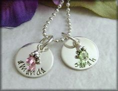 Hand Stamped Jewelry   Name Charms  by StampedUnderTheMoon on Etsy, $46.00
