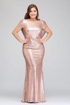 4321c10158 Rose Gold Short Sleeves Plus Size Bridesmaid Dresses