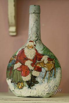 Christmas bottle with decoupage~ Χριστουγεννιάτικο μπουκάλι με decoupage