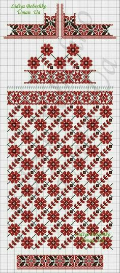 Beading _ Pattern - Motif / Earrings / Band ___ Square Sttich or Bead Loomwork ___ Cross Stitch Borders, Cross Stitch Flowers, Cross Stitch Charts, Cross Stitch Designs, Cross Stitching, Cross Stitch Patterns, Folk Embroidery, Cross Stitch Embroidery, Embroidery Patterns