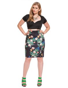 Nobody puts Baby in a corner | Floral Scuba Pencil Skirt | Women's Plus Size Skirts | ELOQUII.com