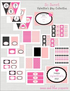 Free Valentine's Day party printable decorations including invitations, banner, and cupcake toppers! See more party ideas at CatchMyParty.com. #valentinesdayparty #freeprintables