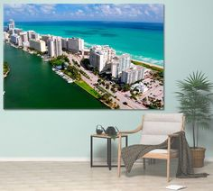 Miami Wall Art Miami Canvas Print Miami Beach Florida Canvas Art Miami Decor Aerial Miami Miami Beach Photo Miami Poster Miami Skyline by ArtWog Beach Canvas Art, Tree Canvas, South Beach Florida, Miami Beach, Miami Skyline, Oversized Wall Art, Surf Decor, Colorful Wall Art, Office Wall Decor