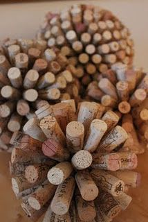 Wine corks glued to a painted styrofoam ball. Start with the equator and go from there. Not sure what to do with them, but they look great!