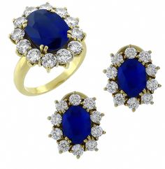 15.00ct Oval Cut Sapphire 3.00ct Round Cut Diamond 18k Yellow Gold Ring & Earrings Set - See more at: http://www.newyorkestatejewelry.com/earrings/15.00ct-sapphire-3.00ct--diamond--ring-&-earrings-set/22487/5/item#sthash.VWetBmPZ.dpuf