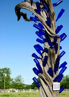 The Blue Bottle Tree on Flite Acres Road in Wimberley, Texas. Wine Bottle Trees, Wine Bottle Art, Blue Bottle, Wine Bottle Crafts, Bottle Garden, Glass Garden, Garden Crafts, Garden Art, Garden Ideas
