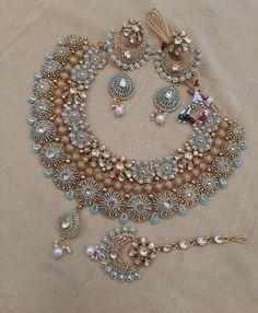 MEENAKARI ART-Indian Gold plated necklace jewellery set with stunning Meenakari artwork Indian Bridal Jewelry Sets, Bridal Bangles, Wedding Jewelry Sets, Wedding Accessories, Hair Accessories, Bridal Jewellery, Antique Jewellery Designs, Fancy Jewellery, Stylish Jewelry