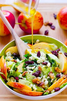 This Apple, Candied Walnuts and Blue Cheese Salad with Honey Apple Dressing is filled with fall flavours, sweet and crunchy and healthy!