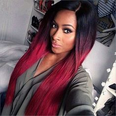 28'' Long Ombre Red Hair Wigs For Black Women Natural Female Wig Cheap Synthetic Burgundy Wigs Synthetic Hair Black Wig