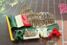 Resin Fridge Magnet, Hand Painted, 7 x 5 cm, Italy Roma Colosseum Colosseo