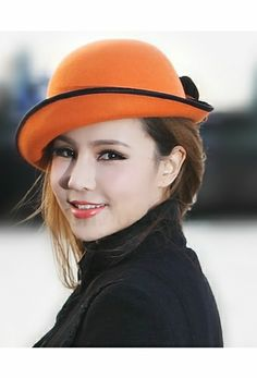 Fashion Orange Fuchsia ladies Wool winter hats for women 2013 with Flower