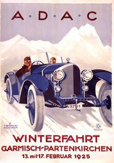 1925 A.D.A.C., Winterfarht Garmisch-Partenkirchen Germany vintage travel sport poster