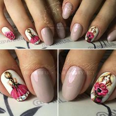What an art piece Fancy Nails, Love Nails, Pretty Nails, Beautiful Nail Designs, Cute Nail Designs, Uñas Diy, Romantic Nails, Vintage Nails, Nail Polish Art