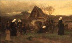 Am Allerseelentage Auf Dem Friedhofe door Wilhelm Ludwig Friedrich Riefstahl, 1869