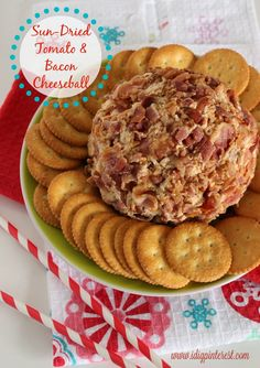 sun-dried tomato and bacon cheeseball - Create Link Inspire - 25 Awesome Super Bowl Party Recipes -  Featured Recipe