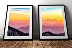 Sunrise Mountain, Mountain Art, Pink Sunset, Pink Sky, Pink Mountains, Sky Art, S Pic, Watercolor, Wall Art