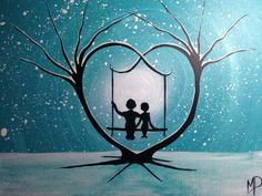 Couple on swing What Can I See 12 x 9 acrylic by MichaelHProsper
