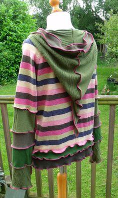 Stripy Upcycled Wool Pixie Sweater Hoodie. £55.00, via Etsy.