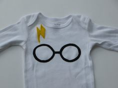 Harry Potter baby onesie, onsie, creeper, bodysuit, one piece, shower gift, lightning bolt scar with glasses on Etsy, $15.00
