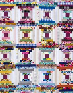 Outback Wife 2017 and Essentials by Gertrude Made (the solids, gingham, and yarn dyed fabrics) a. Log Cabin Quilts, Log Cabins, Pineapple Quilt, Log Cabin Designs, Jellyroll Quilts, Quilt Making, Quilting Designs, Quilt Blocks, Quilt Patterns