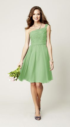Gorgeous and vibrant, this green, one-shoulder bridesmaid dress is perfect for making a statement!
