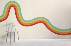 70's Rainbow Wave Retro Wallpaper Mural   Hovia