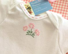 Bullion Roses Hand Embroidered Onesie by CornflowerCreations
