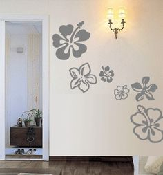 16 Hawaiian HIBISCUS Flowers  Vinyl Wall Art Decal by 7decals, $24.99
