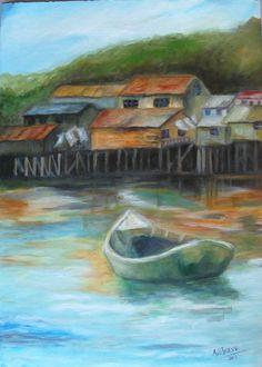 """""""Paisaje de Chiloe"""", sur de Chile Sur Chile, Rug Inspiration, Iglesias, Decoupage, Watercolor, World, Painting, Colourful Art, Water Colors"""