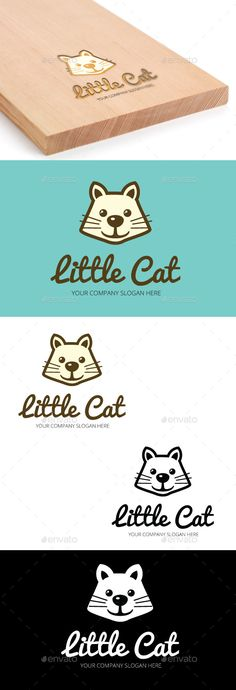 Little Cat Logo Template — Vector EPS #business #cat face • Available here → https://graphicriver.net/item/little-cat-logo-template/10721493?ref=pxcr