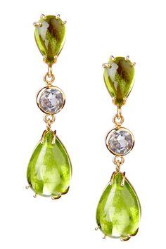 Peridot & White Topaz Drop Earrings @}-,-It's not my birthstone but I love peridot