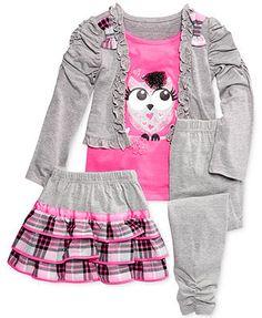 Nannette Little Girls' 3-Piece Owl Top, Skirt & Legging Set
