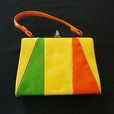 Vintage 60's Vinyl Color Block Handbag