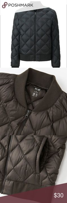 [Uniqlo] ultra light down bomber jacket The classic MA-1 bomber jacket, now in ultra light down.  Incredibly thin and light comfort.  Premium down provides superb insulation and warmth.  Design based on the trendy MA-1 bomber jacket.  Diamond quilt stitching adds an elegant, feminine style.  Sleek cut for an active look.  New without tags. Uniqlo Jackets & Coats