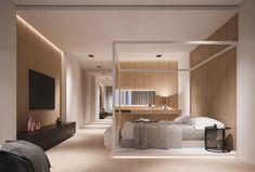 Parete in legno per la camera da letto 26