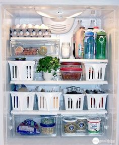 Whip your refrigerator into shape using bins — one for cheese, one for fruits…