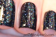 """(by Polish & Pearls) OPI- """"Black Onyx""""-2 coats OPI- """"Last Friday Night"""" from the Katy Perry collection-1 coat"""